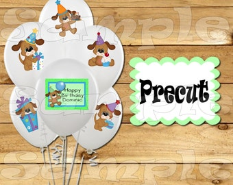 Puppy Balloon Stickers Labels Party favors cup stickers goodie bags decorations supplies Dog Birthday Balloons Precut Personalized decals