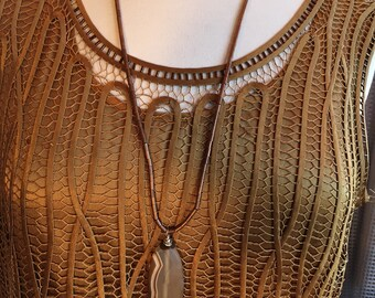 Custom Couture Medium Bronze silk tank top with copper agate necklace 1464