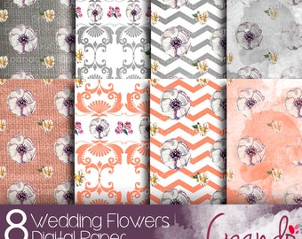 Wedding Flowers 8 Digital Paper