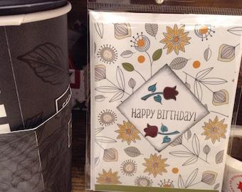 Happy Birthday flowered Greeting Card