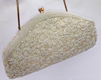 Vintage Glass Beaded Evening Bag, Bridal Purse, Ivory, Bridal Purse,Bridal Evening Bag,Large Clutch