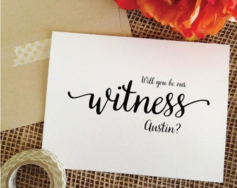 Personalized Will you be our witness card Asking witness Invitation wedding invite (Lovely)