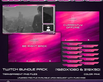 Blurred Existance - Twitch Overlay Bundle Pack - Pink