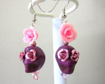 Sugar Skull Earrings Day Of The Dead Jewelry Purple Pink