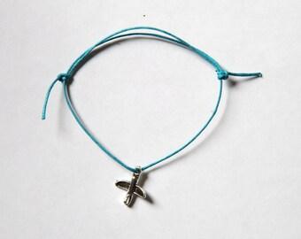 Aeroplane silver charm on waxed cotton cord adjustable friendship bracelet