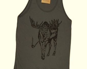 Tank Tops for Men - Pipe Smoking Moose Tank Top - Animal Graphic Tank Tops - Smoking Shirt - Smokers Gift - Pipe Shirt - Mens Gift