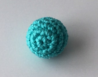 Perle BOIS your clear, Turquoise green crochet 2 cm