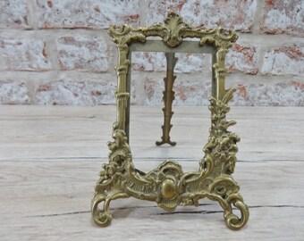 Vintage Brass Photo Frame, Art Nouveau Frame, Baroque Gold Photo Frame, Ornate Antique Brass Picture Frame, Free Standing Frame,