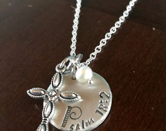 Psalm 18:2 hand stamped on a beautiful hammered-edge pewter disc