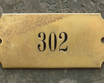 One (1) Large Vintage Numbered Rectangle 2-Hole Solid Brass Tag Plaque Industrial Salvage Door Number Sign Plate Number No 302