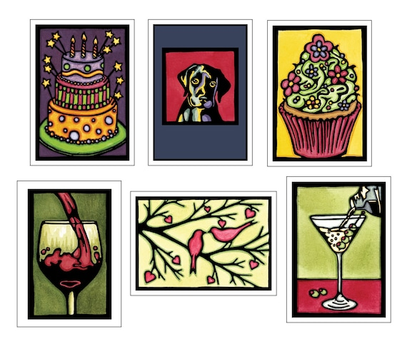 Just For Fun Collection - 6 Blank Greeting Cards - Birthday Cake, Celebration Cupcake, Puppy Dog, Red Wine, Lovebirds, Dirty Martini
