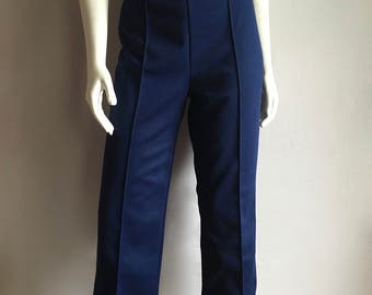 Vintage Women's 70's Polyester Pants, Navy Blue, High Waisted (L)