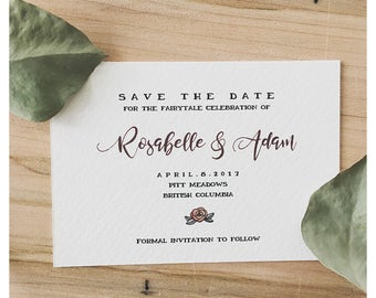 SAVE THE DATE // beauty and the beast, enchanted wedding, wedding card, wedding rsvp, save the date, disney wedding, disney card, disney