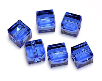 Swarovski Crystal Cube Sapphire Beads 5601- Available in 4mm, 6mm