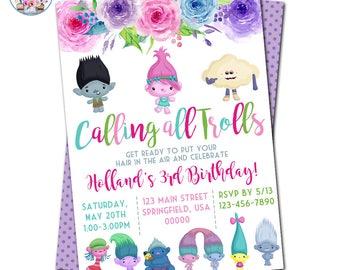 Trolls Birthday Invitation, Trolls Birthday, Trolls Invitation, Trolls Party, Trolls Invite