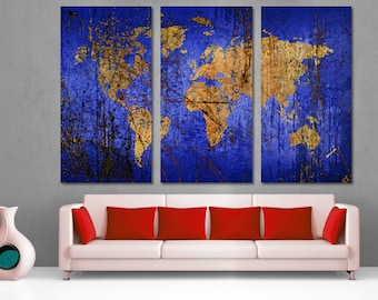 Indigo world map etsy abstract blue world map canvas print 3 panel split triptych navy blue gumiabroncs Gallery