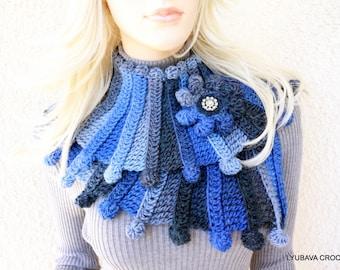 Crochet Scarf PATTERN, Multicolor Scarf Fantasy, Chunky Scarf Pattern, DIY Scarf, Instant Download, PDF Crochet Pattern #90, Lyubava Crochet