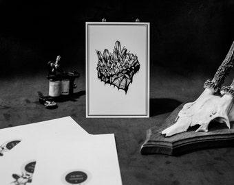 Crystal Tattoo Flash Art Print. Card 10 x 15 cm