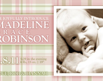 Classic plaid birth announcement (GIRL) print your own
