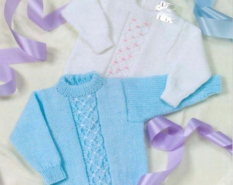Baby Cable Panelled Sweater collection vintage knitting pattern -Immediate download