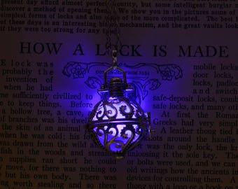 PURPLE Glow Necklace -Kraken Steampunk- Gunmetal finish- Time Travel Device- Ornate- Glowing Locket