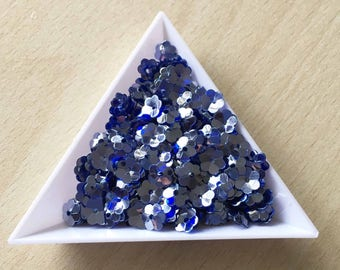 "Glitter / floral Bowl ""Indigo silver iridescent"" 6 mm in bulk"