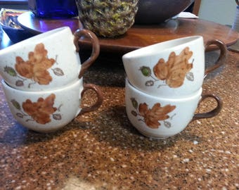 Metlox Poppytrail Woodland Gold 4 Coffee Cups vintage replacements collectible home and living dining and serving