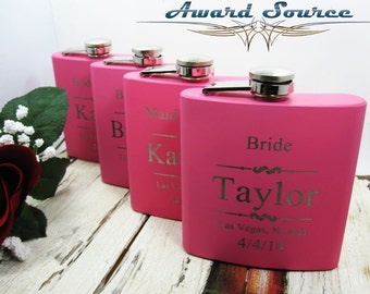 5 Pink Bridesmaid Flask ~With Free Engraving~