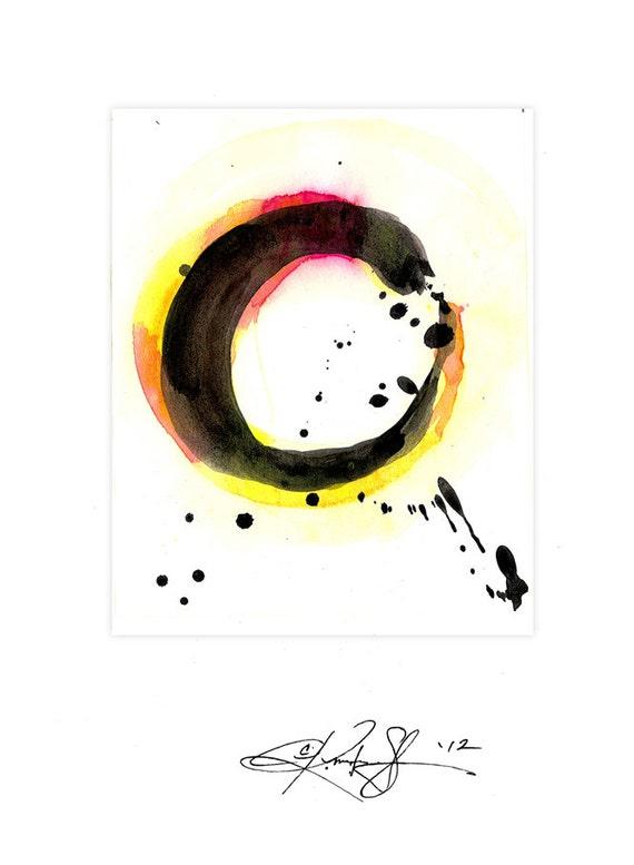 Original Enso Zen Painting Throw Pillows: Enso Painting Zen Circle Art Yellow Original Contemporary