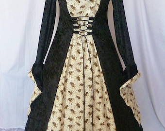 Gothic Spider Hooded Dress, Halloween dress Gothic Spider gown, Halloween gown, pagan fantasy dress,Ready to be Shipped