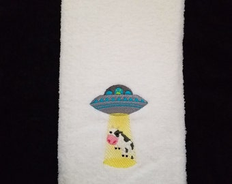 UFO and Cow Bathroom Hand Towel