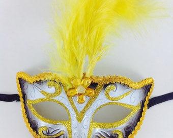 Yellow/white/Black Masquerade Mask, Yellow feather Masquerade mask, Masquerade Ball Mask, Masquerade Mask, Mardi Gras Masquerade Mask
