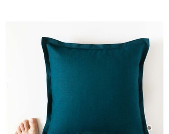 Teal blue pillow cover from linen - custom size with 1 inch flange - invisible zipper closure  0160