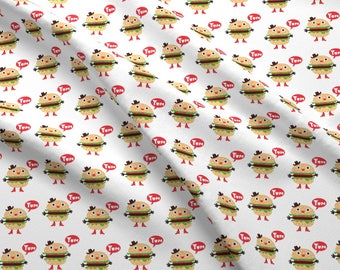 Western Burgers Fabric - Hamburger Cowboy By Andibird - Burgers Boots Cowboy Hat Kawaii Hipster Cotton Fabric By The Yard With Spoonflower
