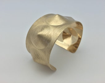 """Spiked Gold Cuff Bracelet //Scratched Gold Finish // Tarnish Resistant // 7"""" to 8"""" Inches // Ask About Wholesale"""