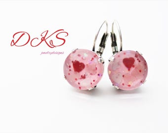 My Love, 12mm Glass Handpainted Earrings, Drops, Dangles, Valentines, Heart, Pink, Red, Jewelry Gift, DKSJewelrydesigns, FREE SHIPPING