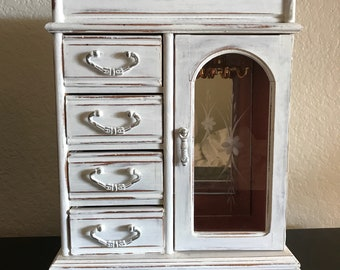 Large Vintage Jewelry Armoire, Jewelry Box, Jewelry Storage, SHABBY CHIC, Distressd, Hand Painted with White Chalk Paint, Cottage Decor