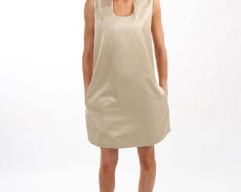 Gold A-line Sleeveless Dress with in Seam Pockets - Lined