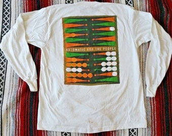 Vintage 1992 R.E.M. Long-Sleeve White 2-Sided T-Shirt XL Automatic For The People 90s Vtg RARE Checkers