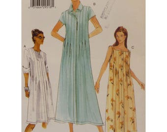 Loose Fitting Dress Pattern, Button Front, Bodice Tucks, Short/Long Sleeves, Scoop/Square Neck, Vogue No 7019 UNCUT Size 8 10 12