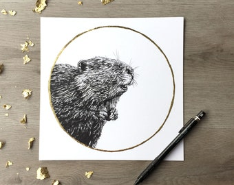 American Beaver November Beaver Moon - Print of Original Graphite Drawing with Gold Leaf Animal Portrait Beaver Print