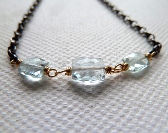Aquamarine Bracelet with Sterling Silver and 14k Gold Filled