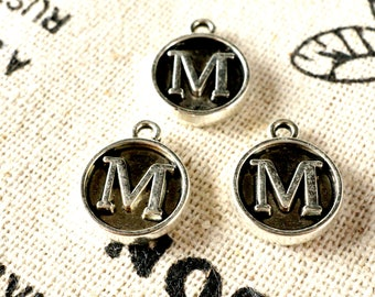 Alphabet letter M charm silver vintage style jewellery supplies