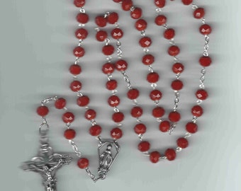 Handmade Orthodox Rosary in Beautiful Ruby Red Czech Glass Beads FREE USA SHIPPING