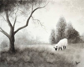 The Wandering Sheep, II; Black and White; Original Watercolor Painting, 11x14 inches