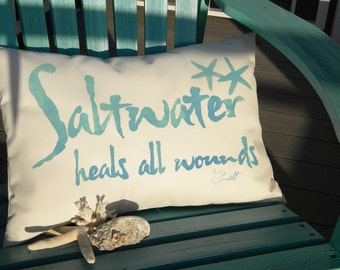 """Outdoor pillow SALTWATER HEALS ALL Wounds 12""""x20"""" (30x50cm) salt water your choice of color on white Crabby Chris Original"""