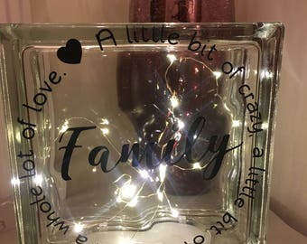Glass light block, family quote, new home gift, night light
