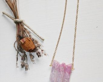 Pink Quartz Crystal Necklace