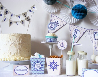 SAILOR FIRST COMMUNION Party Decorations Package. Party Package for 8 guests. Ready to use party package.