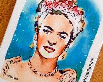 ORIGINAL ARTWORK - 'Viva La Frida' - Frida Kahlo - Copic Drawing - Kirrily Duff - The Tenth House